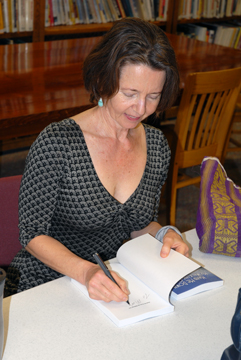 Carla signing at the Baudette Public Library